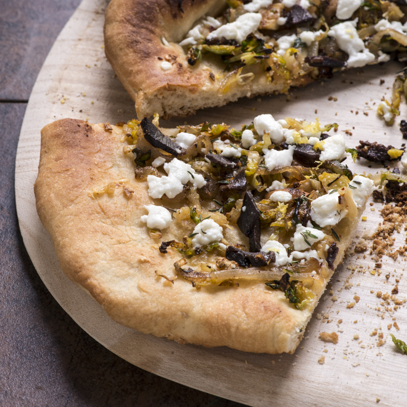 Roasted Brussels Sprouts And Goat Cheese Pizza Recipe ...